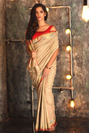 Beige Matka silk Saree With Geometric Design