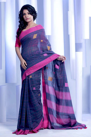 Blue Pure Cotton Saree With Pink Border Cotton Threads Of India Roopkatha - A Story of Art