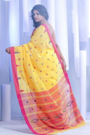 Yellow Pure Cotton Saree With Woven Border