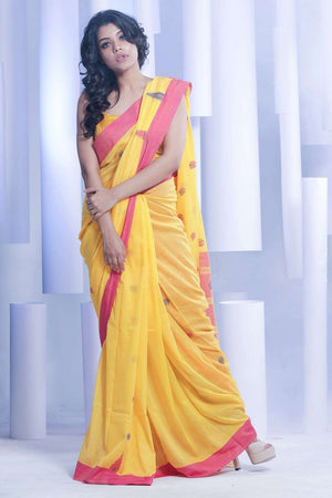 Yellow Pure Cotton Saree With Woven Border Cotton Threads Of India Roopkatha - A Story of Art
