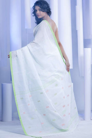 Off- White Pure Cotton Saree With Green Border