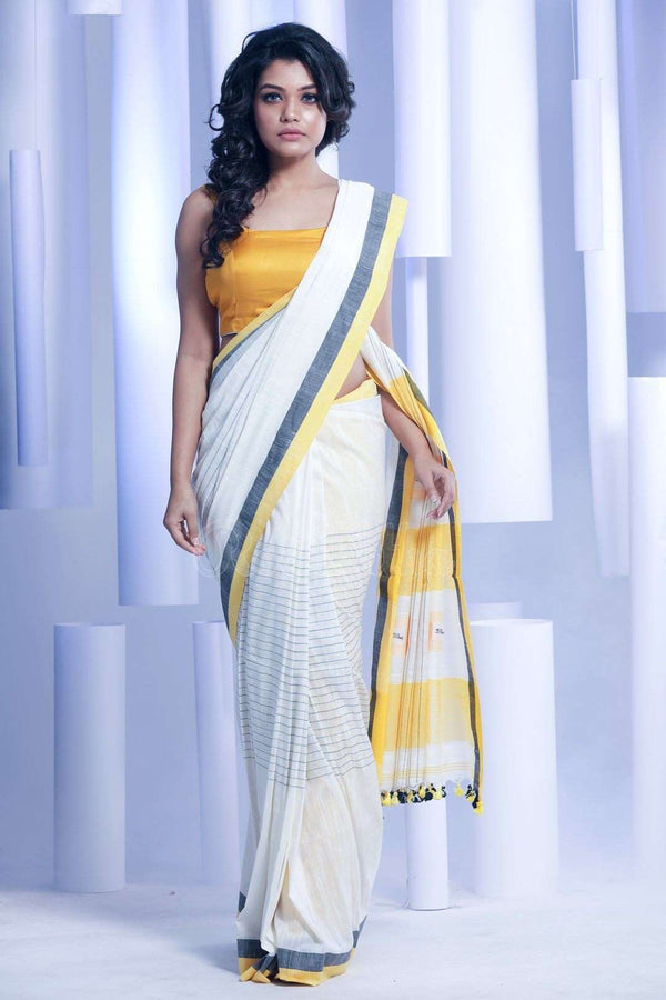 White Pure Cotton Saree With Box Pallu Cotton Threads Of India Roopkatha - A Story of Art