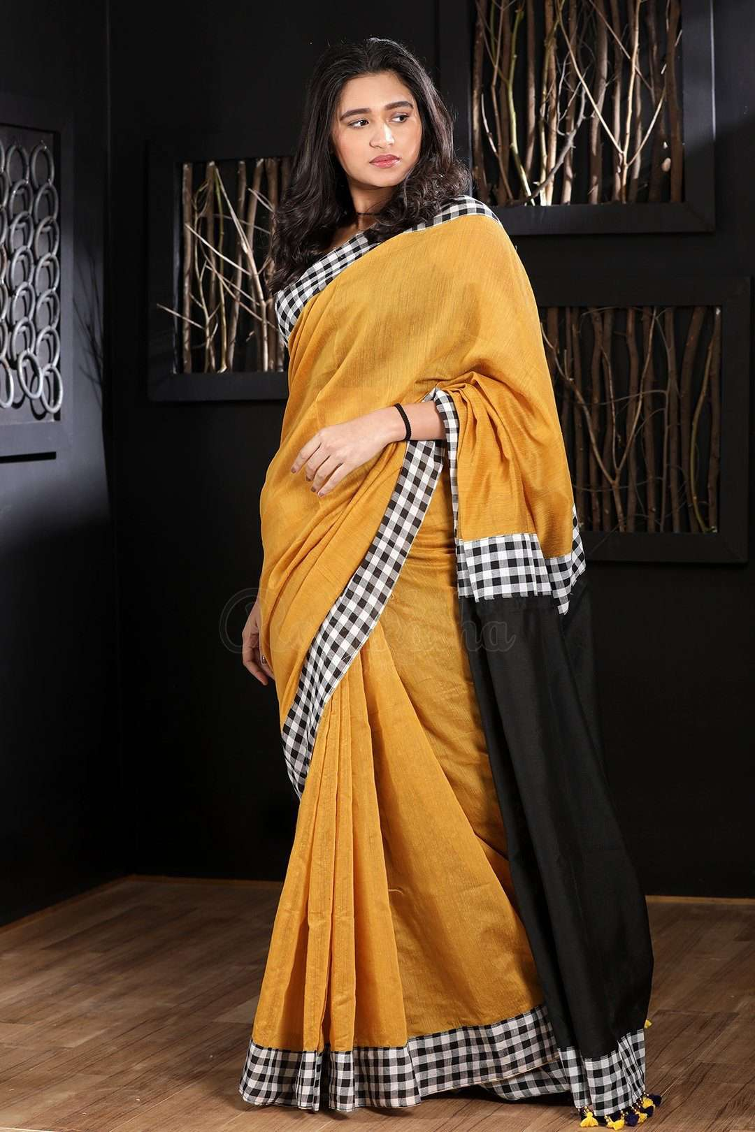 fcc5fdb38dc5a Yellow Blended Cotton Saree With Checkered Border - Roopkatha - A Story of  Art