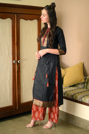 Black & Golden Detailed Kurta With Maroon Printed Palazzo