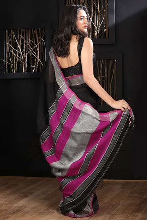 Black Linen Saree With Zari Border Earthen Collection Roopkatha - A Story of Art