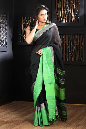 Black Linen Saree With Green Border