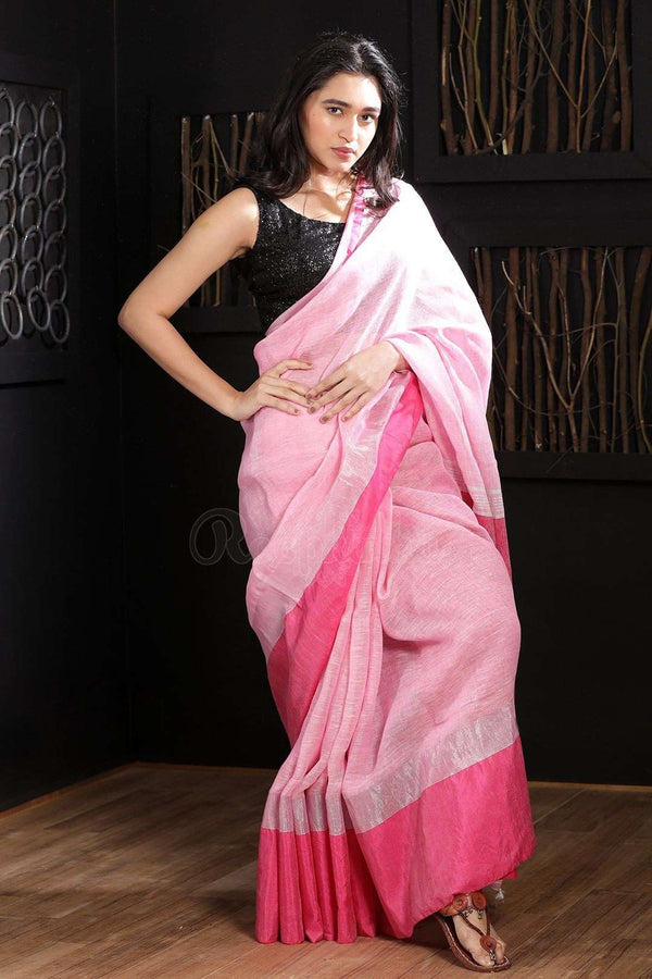 Pale Pink Linen Saree With Dark Pink Border