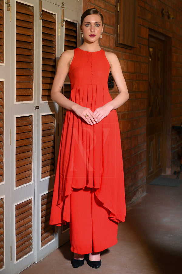 Red Flaired Asymmetric Kurta With Palazzo