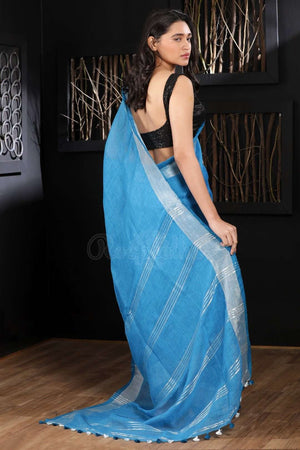Blue Linen Saree With Zari Border