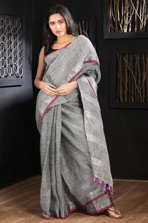 Grey Linen Saree With Zari Border Earthen Collection Roopkatha - A Story of Art