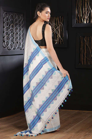 White Blended Cotton Saree With Blue Border