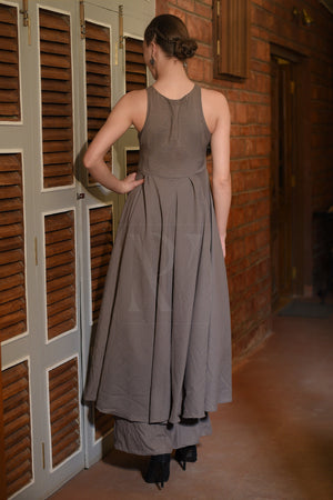 Ash Grey Flaired Asymmetric Kurta With Palazzo