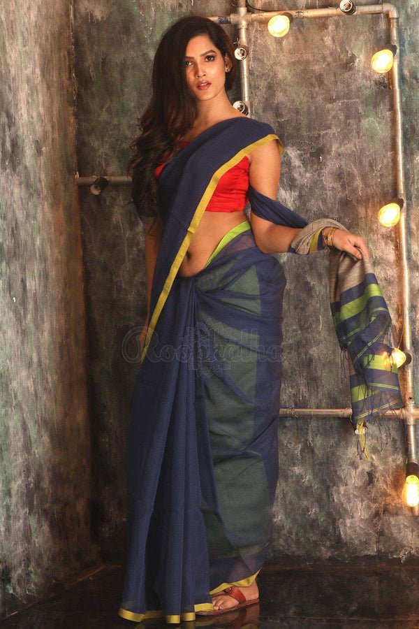 Dark Blue Pure Cotton Saree With Thin Border Cotton Threads Of India Roopkatha - A Story of Art
