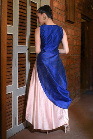 Royal Blue Kurta With Peach Draped Satin Skirt