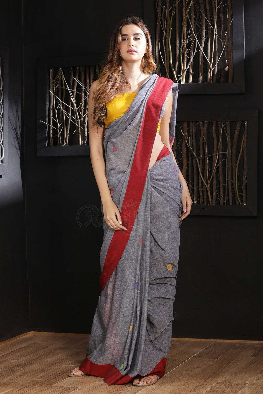 Grey Pure Cotton Saree With Woven Butta Cotton Threads Of India Roopkatha - A Story of Art