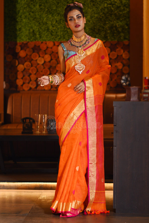 Orange Linen Saree With Dual Tone Border