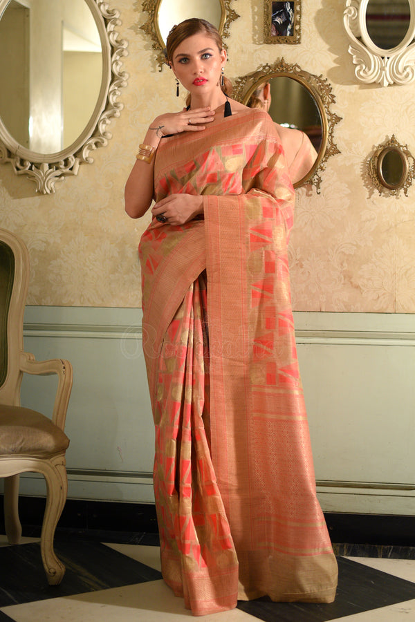Beige Tusser Silk Saree With Coral & Pink Geometric Weave