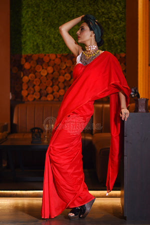 Red Cotton Saree With Pompoms