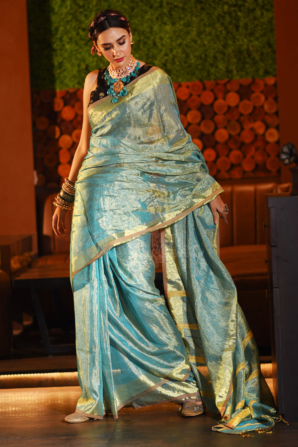 Seafoam Green Tissue Linen Saree With Gheecha Striped Pallu