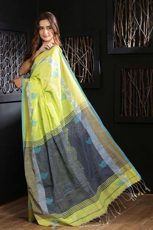 Lime Green Blended Cotton Saree With Grey Pallu