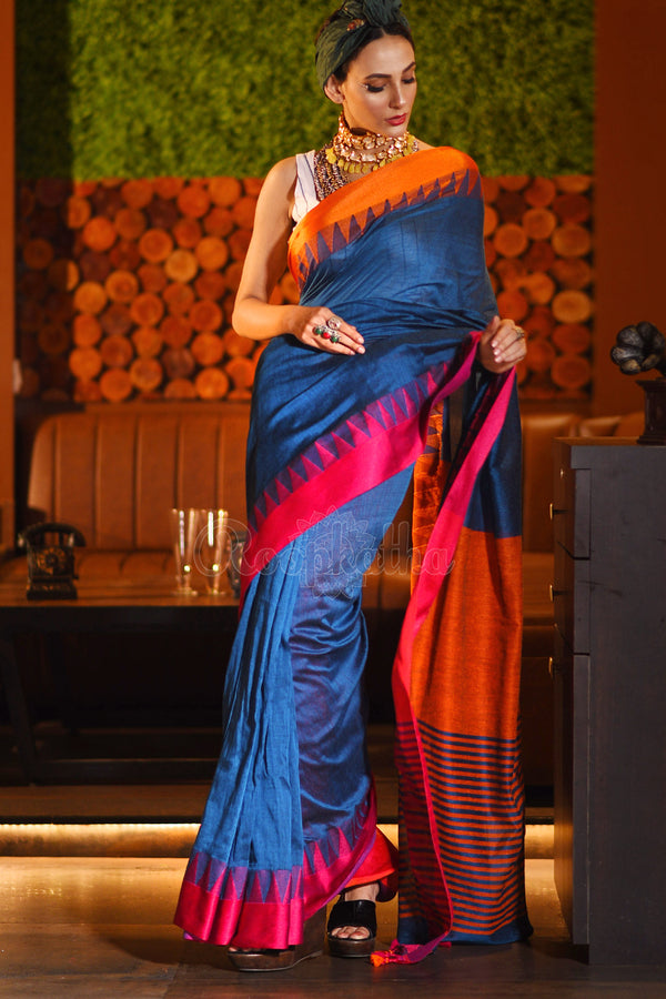Sapphire Blue Cotton Saree With Dual Toned Temple Border