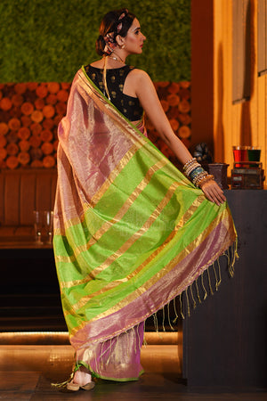 Flamingo Pink Tissue Linen Saree With Zari Striped Pallu