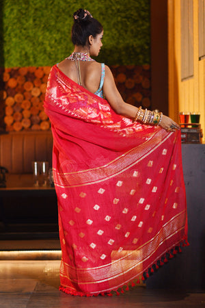 Red Linen Saree With Woven Zari