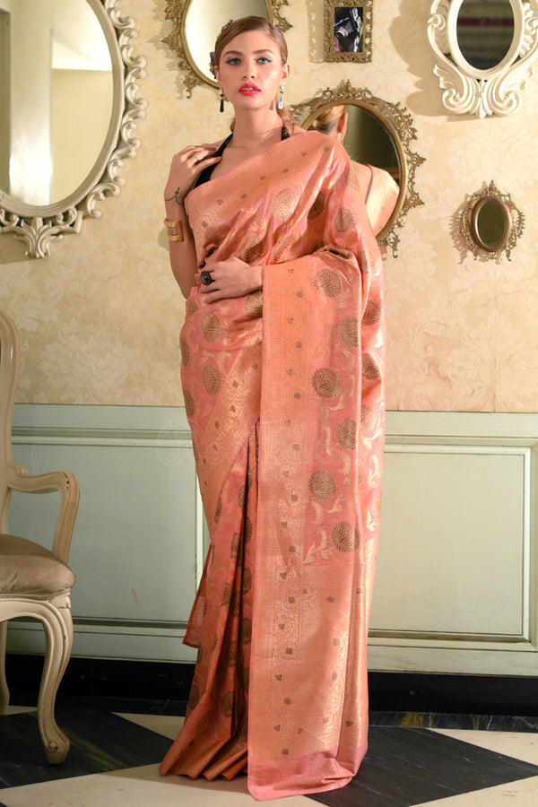 Peach Banaras Silk Saree With Woven Zari Floral Designs