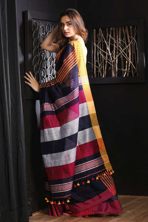 Navy Blue Blended Cotton Saree With Stripes