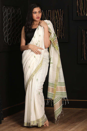 White Blended Cotton Saree With Green Border Akasha Roopkatha - A Story of Art