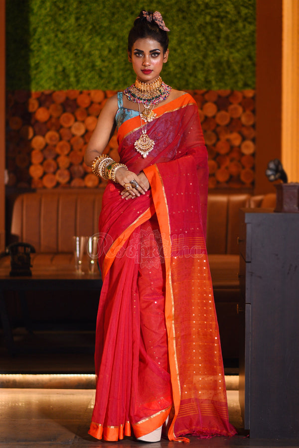 Red Blended Cotton Saree With Sequins