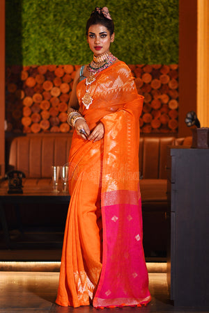 Orange Linen Saree With Pink Pallu