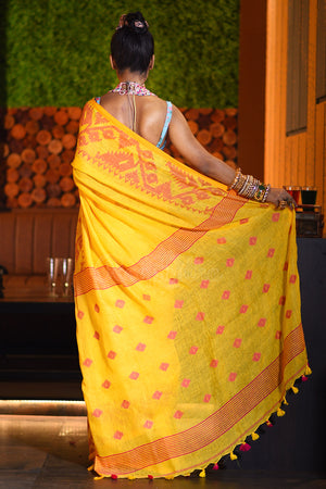 Yellow Linen Saree With Woven Motifs