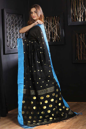 Black Blended Cotton Saree With Zari Butta Akasha Roopkatha - A Story of Art
