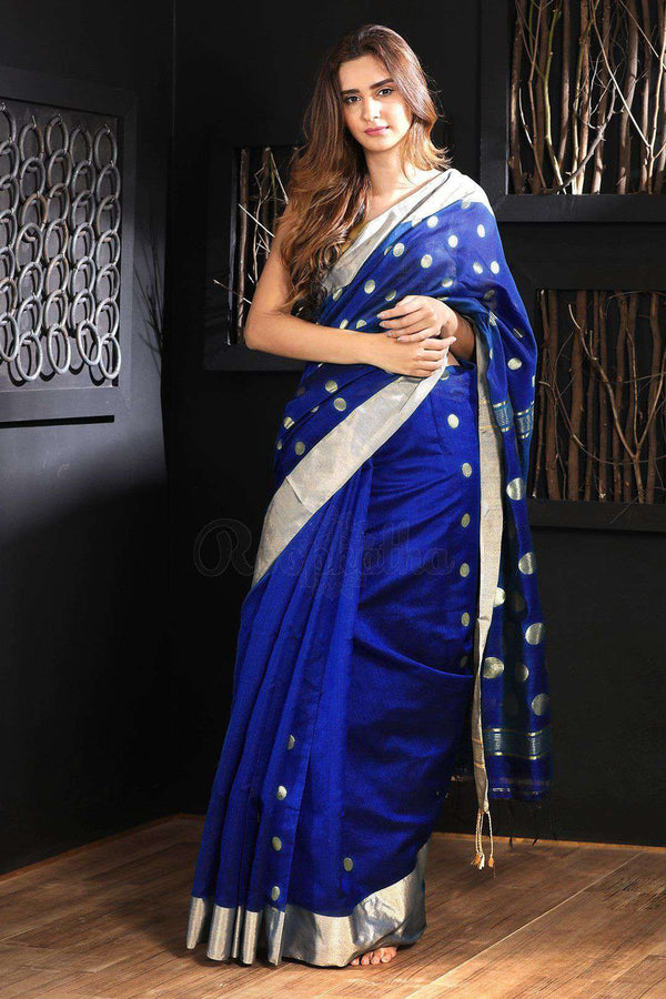 Blue Blended Cotton Saree With Zari Butta Akasha Roopkatha - A Story of Art