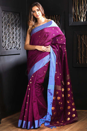 Magenta Blended Cotton Saree With Zari Butta Akasha Roopkatha - A Story of Art