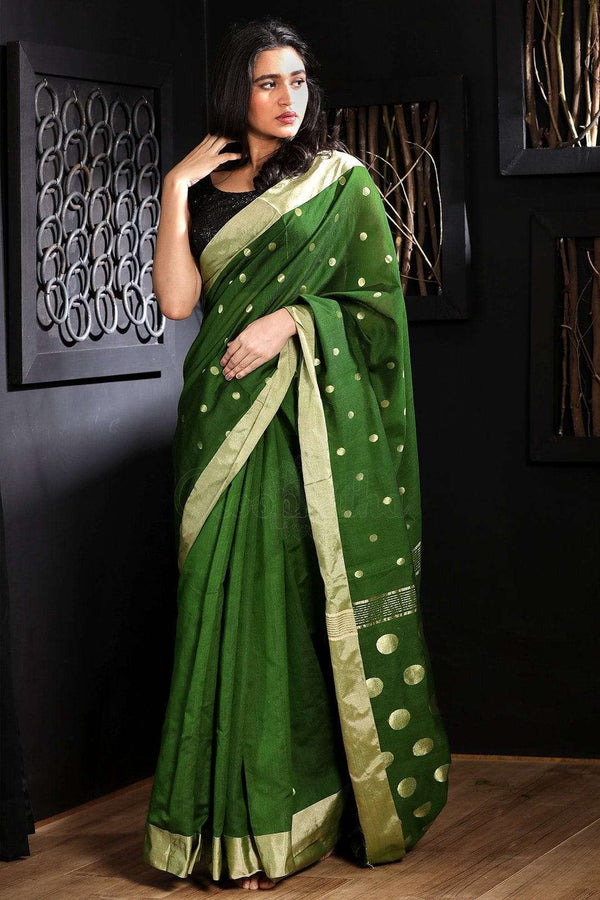 Sap Green Blended Cotton Saree With Zari Butta Akasha Roopkatha - A Story of Art