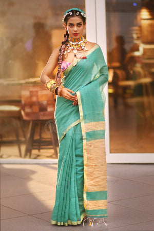 Seafoam Green Blended Cotton Mocklin Saree With Gheecha Pallu