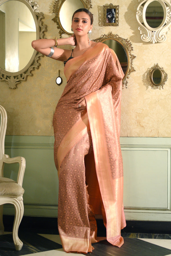Rouge Pink Munga Silk Saree With Zari Designs