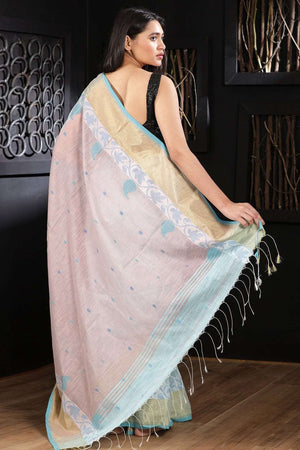 Pale Blue Blended Cotton Saree With Woven Border Akasha Roopkatha - A Story of Art