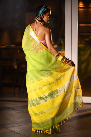 Chartreuse Green Linen Saree With Yellow Zari Striped Pallu