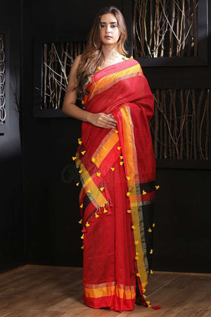 Red Blended Cotton Saree With Pompom Akasha Roopkatha - A Story of Art