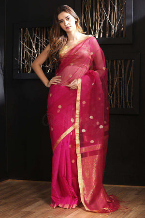 Fuchsia Matka Silk Saree With Zari Butta Kriti Classics Roopkatha - A Story of Art