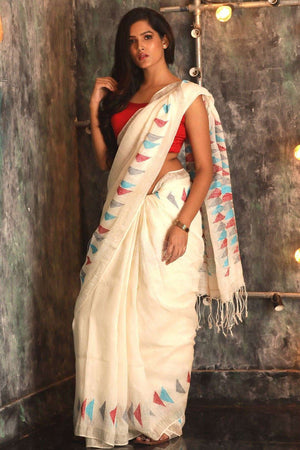 Off-white organic linen saree Earthen Collection Roopkatha - A Story of Art