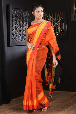 Orange Blended Cotton Saree With Pompom