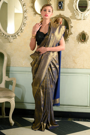 Blue Banaras Silk Saree With Full Body Woven Zari Floral Designs