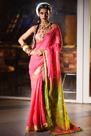 Pink Linen Saree With Green Pallu