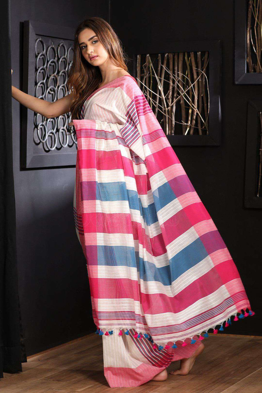 White Blended Cotton Saree With Stripes Akasha Roopkatha - A Story of Art