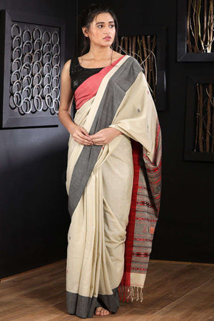 Off-White Pure Cotton Saree With Dual Border Cotton Threads Of India Roopkatha - A Story of Art