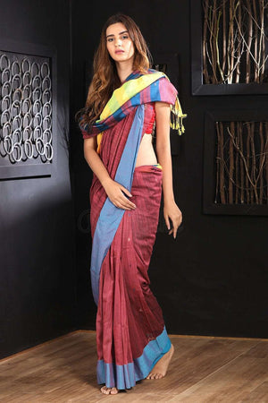Wine Pure Cotton Saree With Dual Border